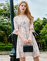 YHSPWomen's Going out Casual/Daily Simple Street chic Sophisticated A Line Sheath Swing DressFloral V Neck Knee-length 3/4 Length Sleeve