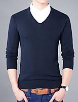 Для мужчин На каждый день Большие размеры Простое Обычный Пуловер Однотонный,Рубашечный воротник Длинный рукав Хлопок Осень Зима Средняя