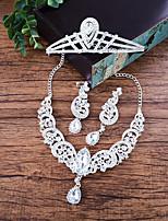 Women's Necklace Front Back Earrings Rhinestone Luxury Rhinestone Alloy Crown For Wedding Wedding Gifts