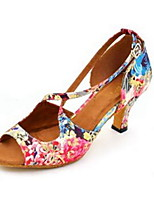 Women's Latin Silk Sandals Performance Pattern/Print Cuban Heel White 2