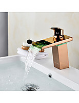 Centerset Waterfall with  Ceramic Valve One Hole for  Rose Gold , Bathroom Sink Faucet