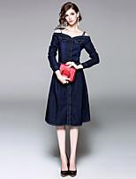 Для женщин На выход На каждый день Уличный стиль Джинса Платье Однотонный,На бретелях Средней длины Длинный рукав Хлопок Лето ОсеньСо