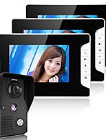 MOUNTAINONE 7 Inch Video Door Phone Doorbell Intercom System  Kit 1-Camera 2-Monitors Night Vision