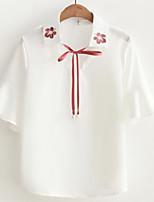 Для женщин На каждый день Рубашка Квадратный вырез,Простое Однотонный Рукав до локтя,Полиэстер