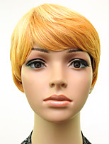 Woman Blonde Straight Hair Short Synthetic Wigs Heat Resistant High Temperature Fiber