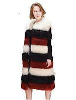 Women's Plus Size Simple Fall Winter Vest,Solid Round Neck Sleeveless Long Fox Fur