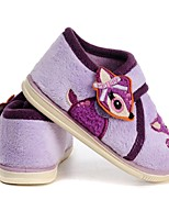 Girls' Loafers & Slip-Ons Walking Vulcanized Shoes Flocking Fall Winter Casual Dress Applique Hook & Loop Flat Heel Purple Flat