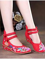Mujer Zapatos Tejido Verano Confort Tacones Para Casual Negro Rojo Azul
