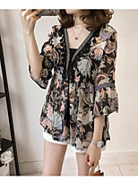 Women's Casual/Daily Simple Blouse,Print V Neck 3/4 Length Sleeve Polyester