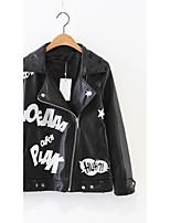 Для женщин Спорт На выход На каждый день Весна Осень Кожаные куртки Воротник шалевого типа,Простой Активный Уличный стиль С принтом