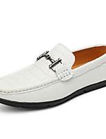 Для мужчин Мокасины и Свитер Удобная обувь Весна Осень Натуральная кожа Повседневные На плоской подошве Белый Черный Морской синий