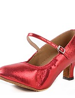 Non Customizable Women's Dance Shoes Heels Latin Leatherette Chunky Heel Indoor Gold/Silver/Red/Black