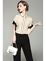 QIN QIN  Women's Going out Cute ShirtColor Block Shirt Collar Short Sleeve Polyester
