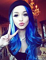 Парики из искусственных волос Лента спереди Длиный Тёмно-синий Природные волосы Парик из натуральных волос Карнавальные парики