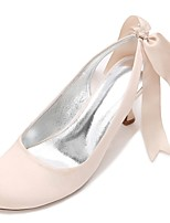 Women's Wedding Shoes Ankle Strap Comfort Basic Pump Spring Summer Satin Wedding Party & Evening Dress Bowknot Satin Flower Lace-up Flower