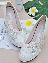 Femme Chaussures de mariage A Bride Arrière Dentelle Similicuir Printemps Automne Mariage Habillé Soirée & EvénementStrass Applique
