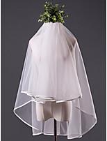 Свадебные вуали Один слой Фата до кончиков пальцев Закруглённый край Кружева Сатин Тюль