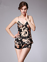 Women's Satin & Silk Suits Nightwear,Sexy Print Print-Thin Polyester