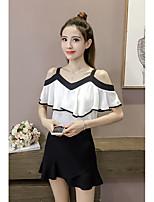 Для женщин На выход На каждый день Лето Блуза V-образный вырез,Простое Очаровательный Однотонный Без рукавов,Другое