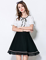 MEIDONGTAI  Women's Going out Simple Summer Blouse Skirt SuitsColor Block Round Neck Short Sleeve Micro-elastic
