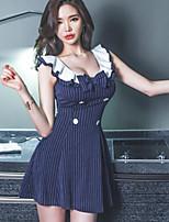 Для женщин На выход На каждый день Уличный стиль Облегающий силуэт Платье Полоски,V-образный вырез Мини Без рукавов Хлопок Лето С высокой