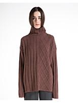 Для женщин На каждый день Простое Обычный Пуловер Однотонный,Хомут Длинный рукав Шерсть Полиэстер Осень Зима Толстая Слабоэластичная