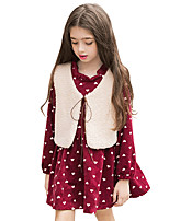Girl's Casual/Daily Polka Dot Dress,Polyester Fall Winter Long Sleeve