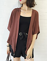 Women's Going out Casual/Daily Simple Spring Fall Coat,Solid V Neck ½ Length Sleeve Regular Polyester