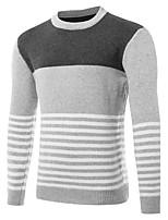 Для мужчин Спорт На выход На каждый день Простое Обычный Пуловер Контрастных цветов,Круглый вырез Длинный рукав Шерсть Осень Зима Средняя