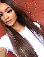 Ombre T1B/Brown Straight Lace Front Human Hair Wigs with Baby Hair 100% Unprocessed Brazilian Virgin Hair Glueless Lace Wig for Woman