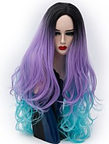 Femme Perruque Synthétique Sans bonnet Long Ondulation Naturelle Silver Purple Cheveux Colorés Perruque Naturelle Perruque de fête