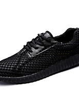 Men's Sneakers Light Soles Spring Fall Tulle PU Casual Lace-up Flat Heel White Black Ruby Flat