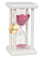 POSCN 45 Minutes Durable Glass  Hourglasses White Wood Sand Timer for Time Management LP9007-0021