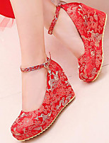 Feminino Sapatos De Casamento Conforto Seda Primavera Casamento Casual Vermelho 10 a 12 cm