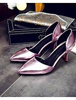 Mujer Zapatos PU Verano Confort Tacones Para Casual Dorado Plata Morado Rojo