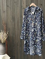 Mujer Simple Bonito Chic de Calle Noche Casual/Diario Verano Otoño Camisa,Escote en Pico Floral Estampado Manga Larga Otro Fino Medio
