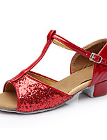 Women's Latin Paillette Heels Practice Sequin Low Heel Ruby Under 1
