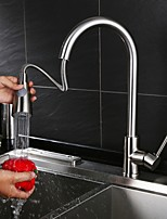 Contemporary Modern Style Centerset Pullout Spray Rotatable High Quality with  Ceramic Valve Nickel Brushed  Kitchen Sink faucet
