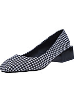 Women's Heels Comfort Formal Shoes Fall Fabric Walking Shoes Casual Dress Plaid Low Heel Black Coffee 2in-2 3/4in