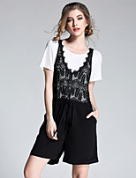 MEIDONGTAI  Women's Going out Cute Summer T-shirt Pant SuitsSolid Round Neck Short Sleeve Micro-elastic