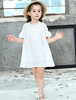 Girl's Cotton Fashion And Lovely   Bare shoulder Ruffle Embroidered Skirt And lace Collar Princess Dress