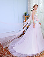 Ball Gown Strapless Sweep / Brush Train Tulle Prom Wedding Party Dress with Beading by MMHY