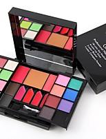 2 Blush Pó Compacto+Sombra para Olhos Sobrancelha+Gloss Labial+Espelho Pau de Algodão de Maquiagem Pincéis de Maquiagem Brilho Cara Olhos