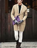 Для мужчин На выход На каждый день Обычный Кардиган Однотонный,Круглый вырез Длинный рукав Полиэстер Спандекс Другое Весна Осень Средняя