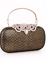 Women Clutch leatherette All Seasons Wedding Event/Party Formal Minaudiere Rhinestone Lace Plaid Snap Silver Gold