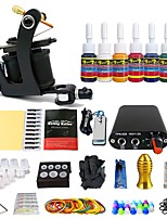 Complete Tattoo Starter Kit 1 Machine 7 Color Inks Set Power Needle Tip