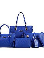 Mulher Bolsas Todas as Estações Couro Ecológico Conjuntos de saco com para Casual Azul