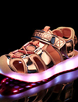 Girls' Sandals Comfort Light Up Shoes Summer Synthetic Microfiber PU Walking Shoes Casual Outdoor Flat Heel Gold Silver Blue Blushing Pink