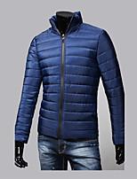 Пальто Простое Обычная На подкладке Для мужчин,Однотонный Контрастных цветов На выход На каждый день Хлопок Полиэстер,Длинный рукав