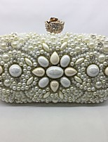 Women Bags All Seasons Metal Evening Bag with for Event/Party Champagne White Black